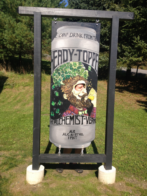 Dan posing in the Heady Topper can at the Alchemist in Waterbury, Vermont.